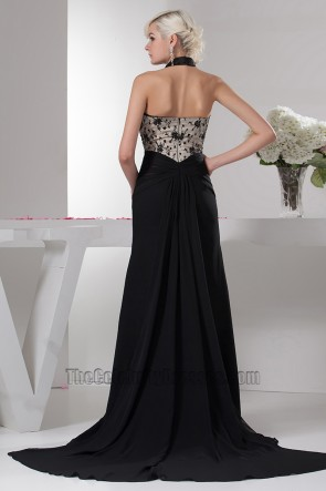Sexy Halter Black Beaded Evening Dress Prom Gowns