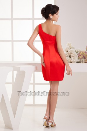 Short Red One Shoulder Cocktail Graduation Party Dresses