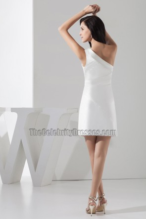 Beaded White One Shoulder Party Graduation Homecoming Dress