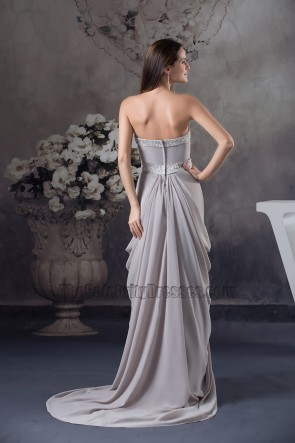 Sliver Chiffon Sweep Brush Train Formal Dress With A Wrap