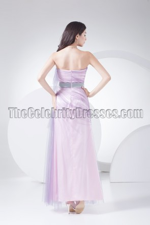 Strapless Lilac Tulle Prom Gown Bridesmaid Dresses