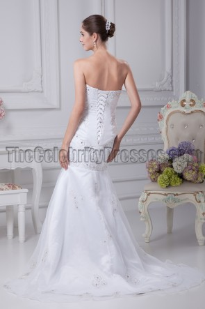 Strapless Mermaid Embroidery Bridal Gown Wedding Dresses