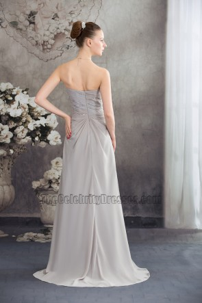 Strapless Silver Chiffon Bridesmaid Prom Evening Dresses