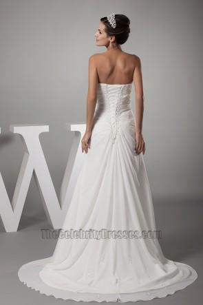 Sweetheart Strapless A-Line Chiffon Wedding Dress Bridal Gown