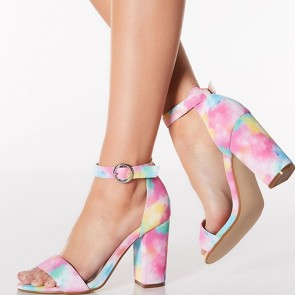 Tie-dye Print Chunky Heels Sandals Ankle With Buckle