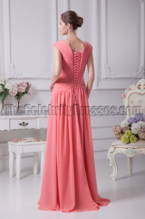 Watermelon Prom Formal Dresses Bridesmaid Gowns