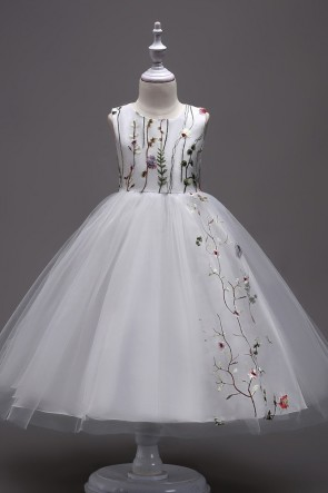 A-line Embroidered Tulle Girl Dress
