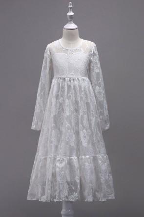 A-line Lace Junior Bridesmaid Dress