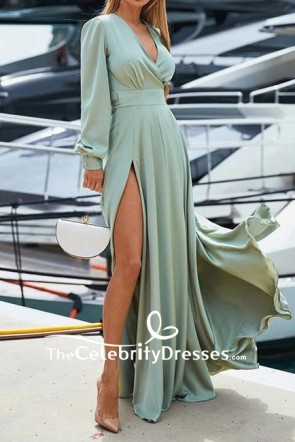 Mint A-line Thigh-high Slit V-neck Evening Dress With Long Sleeves