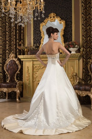 A-Line Strapless Embroidered Ivory And Champagne Wedding Dresses