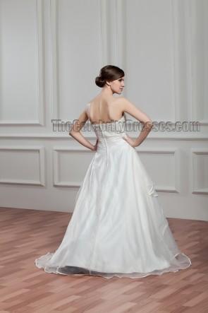 A-Line Sweep Train Strapless Sweetheart Beaded Wedding Dresses