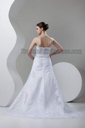 A-Line Sweetheart Strapless Beaded Chapel Train Wedding Dress