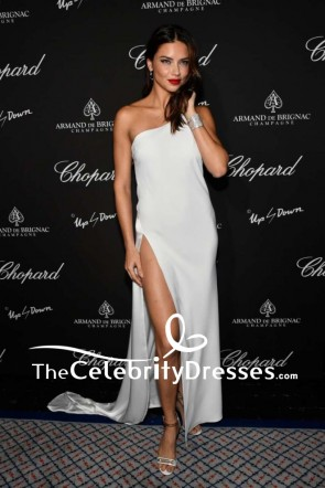 Adriana Lima White One-shoulder Thigh-high Slit Evening Dress Creatures Of The Night Late-Night Soiree