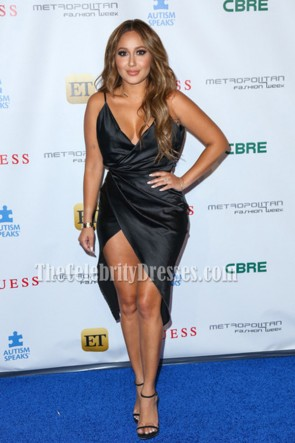 Adrienne Bailon Black Sexy Deep V-neck Wrap Cocktail Dress Metropolitan Fashion Week 2016 5