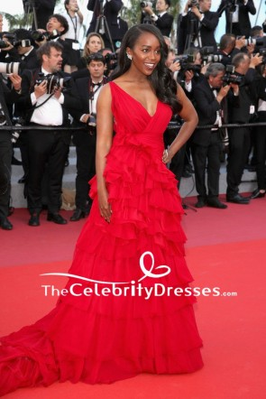 Aja Naomi King Red Princess Ruffled Evening Dress 2018 Cannes Film Festival Red Carpet Gown