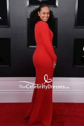 Alicia Keys Red V-neck Mermaid Evening Dress 2019 Grammys TCD8284