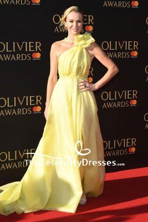 Amanda Holden Yellow One-shoulder Beaded Evening Dress Olivier Awards 2017 Red Carpet