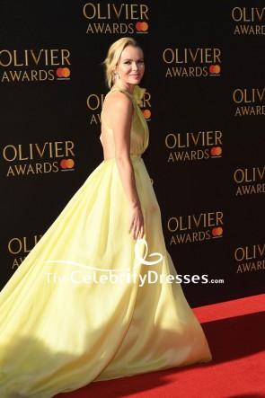 Robe de soirée perlée à une épaule jaune Amanda Holden Olivier Awards 2017 Red Carpet