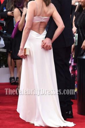 Amanda Peet Spaghetti ivoire Bretelles découpées Soirée Prom Gown 2016 SAG Awards