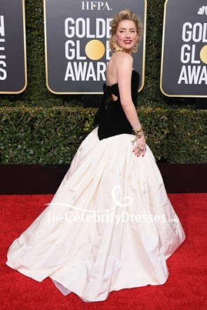 Amber Heard Black And Ivory Strapless Ball Gown Golden Globes 2019 Red Carpet TCD8236