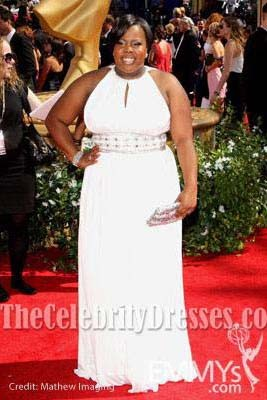 Amber Riley White Plus Size Prom Dress Formal Gown 62nd Primetime Emmy Awards