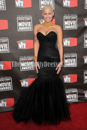 Amber Rose Black Mermaid Prom Formal Dress 16th annual Critics' Choice Movie Awards