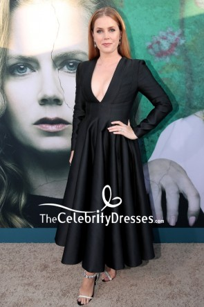 Amy Adams Black Deep V-neck Cocktail Dress With Long Sleeves
