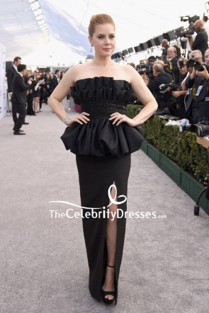 Amy Adams Black Strapless Thigh-high Slit Ruffled Evening Dress 2019 SAG Awards