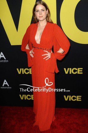 Amy Adams Red Deep V-neck Pleated Evening Dress Premiere Of 'Vice'