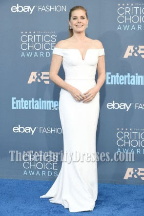 Amy Adams White Off-the-shoulder Evening Prom Gown 22nd Annual Critics' Choice Awards  3