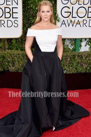 Amy Schumer Robe de Bal Formelle Off-the-épaule Noire et Blanche Golden Globes 2016