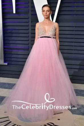 Angela Sarafyan Pink Embroidered V-neck Ball Gown 2019 Vanity Fair Oscar party