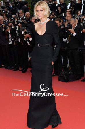Anja Rubik Black Column Evening Dress With Long Sleeves 2018 Cannes Film Festival Red Carpet