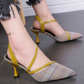 Ankle Straps Plaid Striped Pointed Toe Pumps Stiletto Heels For Women