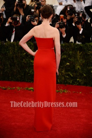 Anna Hathaway Red Prom Evening Dress MET Gala 2014 Red Carpet Gown