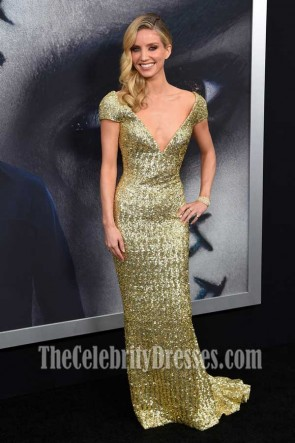 Annabelle Wallis Gold Sequins Cap Sleeves Deep V-neck Column Gown The Mummy New York Fan Event