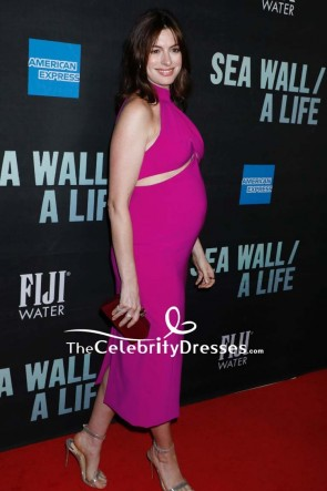 Anne Hathaway fuchsia Maternity Dress Broadway Opening Of 'Sea Wall/ A Life.' TCD8613
