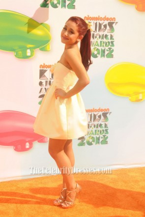 Ariana Grande Robe de soirée courte 2012 Nickelodeon Kids 'Choice Awards Orange Carpet