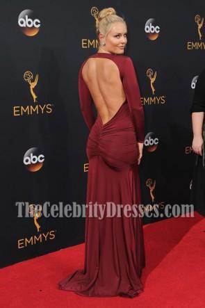 Athlète Lindsey Vonn robe de soirée en v profond bordeaux 68th Annual Emmy Awards