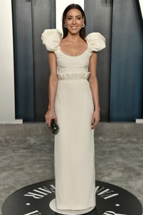 Aubrey Plaza Ivory Column Dress 2020 Vanity Fair Oscar Party