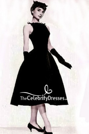 Audrey Hepburn Vintage Tea Length Black Dress