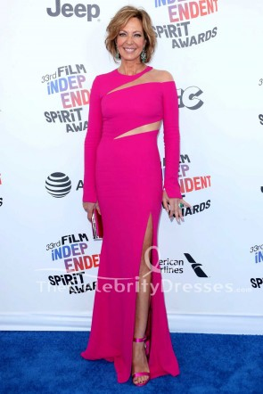 Allison Janney fuchsia Robe longue à manches longues 2018 Film Independent Spirit Awards