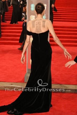 Angelina Jolie 2018 BAFTAs robe de soirée noire tapis rouge célébrité robe