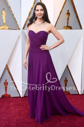 Ashley Judd 2018 Oscars violet bretelles robe de demoiselle d'honneur robe de bal