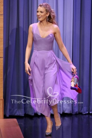 Blake Lively robe de bal Party lilas The Tonight Show mettant en vedette Jimmy Fallon