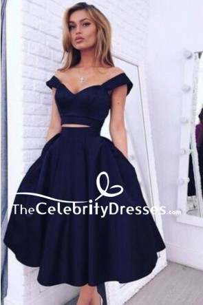 Knee Length Dark Navy Two Piece A-Line Graduation Homecoming Party Dresses TCDFD7838