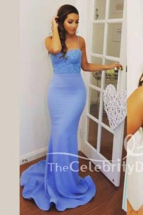 Elegant Mermaid Spaghetti Straps Lavender Formal Evening Dresses TCDFD7541