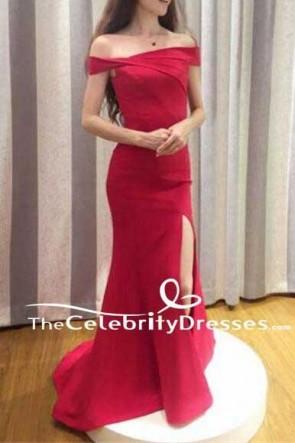 Elegant Red Off Shoulder Slit Long Party Prom Dresses Evening Gown TCDFD7525