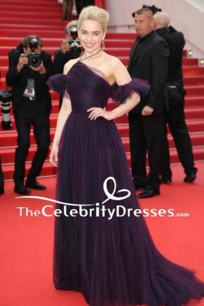 Emilia Clarke Solo Premiere 2018 Cannes Film Festival Purple Evening Dress TCD7874