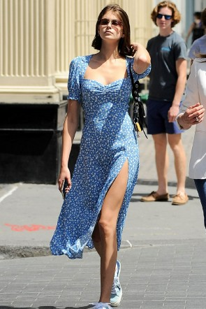Kaia Gerber Inspired Blue Printed High Split Cocktail Party Dress TCDXH8451